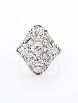 1920s Platinum Diamond Shield Ring