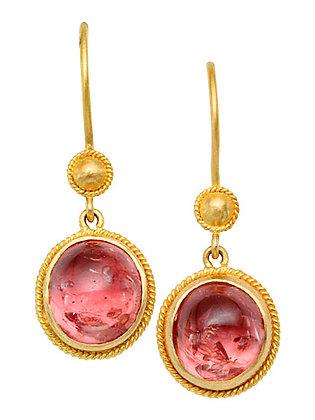 18k Yellow Gold Pink Sapphire Drop Earrings by Steven Battelle