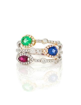14k Tri-Tone Diamond, Sapphire, Ruby And Emerald Ring
