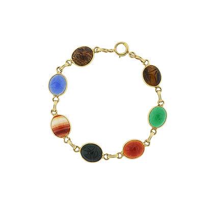 14k Yellow Gold Gemstone Scarab Bracelet