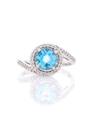 14k White Gold Blue Topaz Halo Ring