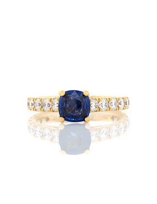 European Style Diamond and Sapphire Engagement Ring