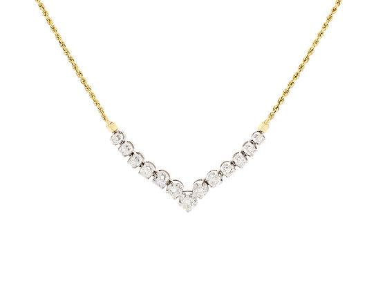 14k Yellow Gold Graduated Diamond Necklace