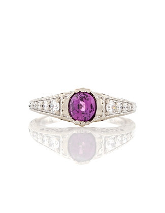 14k White Gold Purple Sapphire and Diamond Ring