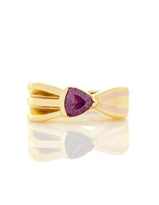 18k Yellow Gold Purple Sapphire Bow Ring