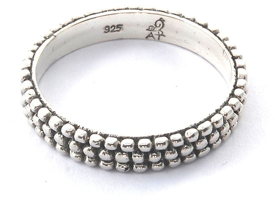 Indiri Sterling Silver Bali Triple Bead Ring