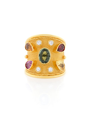 Multi-Colored Sapphire And Diamond Byzantine Ring