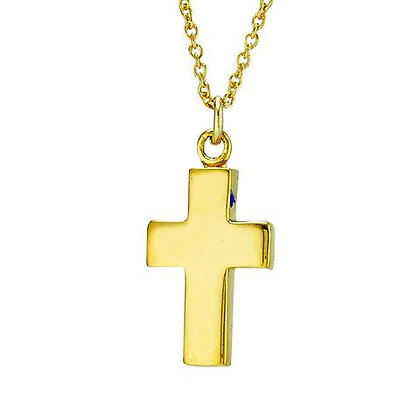 Sterling Silver & Gold Plated Hammered Cross Necklace
