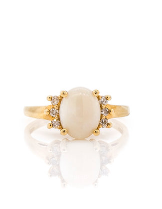 10k Yellow Gold Opal and Diamond Ring, Size 7