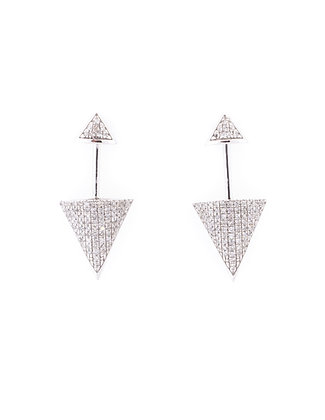 14k White Gold Triangle Dangle Earrings