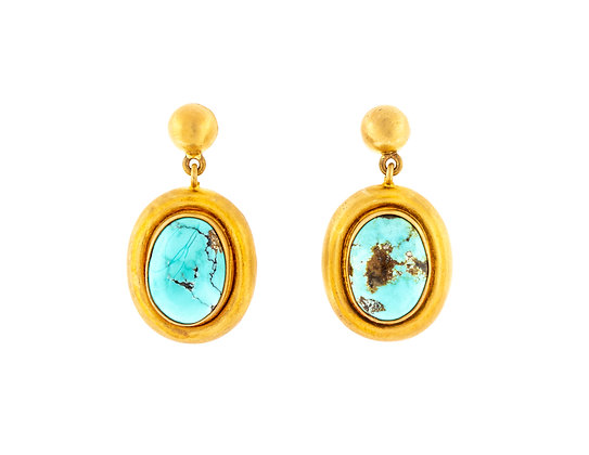 22K Yellow Gold Persian Turquoise Earrings
