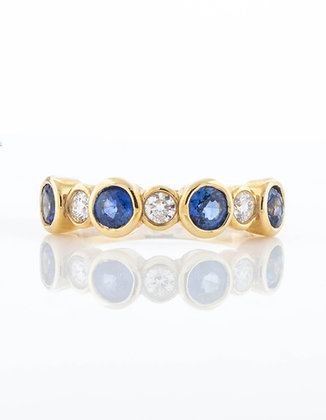 14k Yellow Gold Sapphire and Diamond Band, Size 6.5