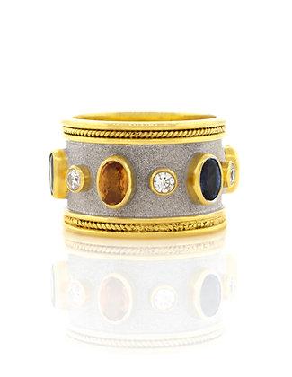 18K Yellow Gold Sapphire and Diamond Byzantine ring