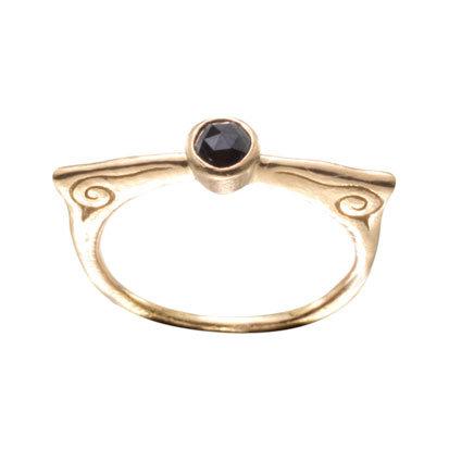 22k Yellow Gold Black Diamond Ring from Steven Battelle