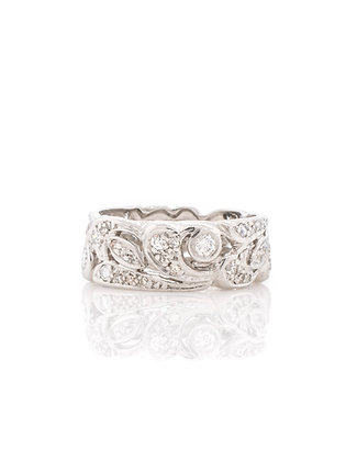 Platinum 1940's Retro Diamond Eternity Band