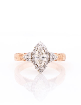 14K Rose & White Gold Marquise Cut Diamond Ring