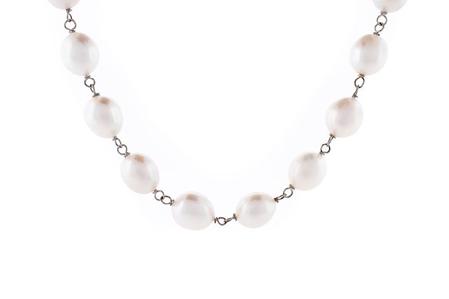 Sterling Silver Fresh Water Pearl Link Necklace