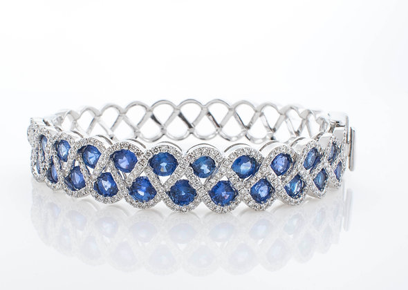 14k White Gold Sapphire and Diamond Bangle