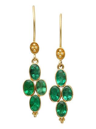 18k Yellow Gold Emerald Earrings by Steven Battelle