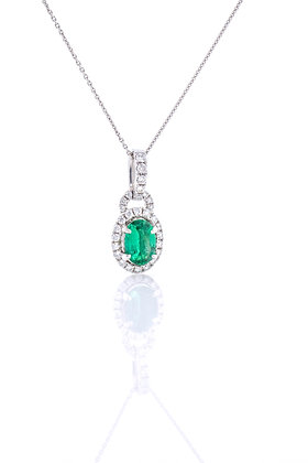14k White Gold Emerald and Diamond Necklace