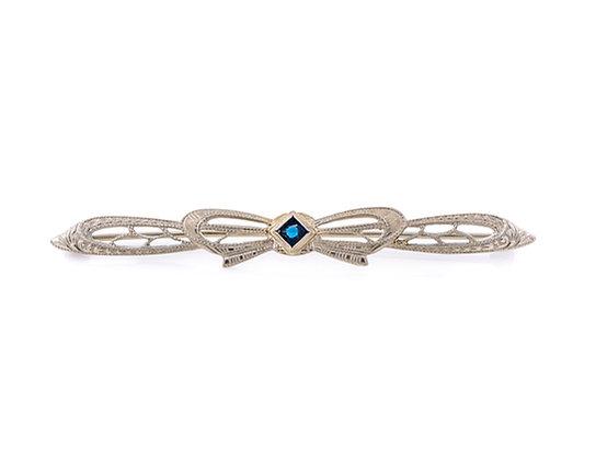 10K White Gold Blue Stone Bow Pin