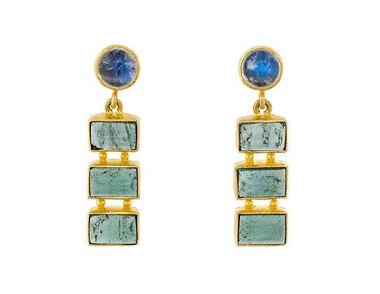18K Yellow Gold Blue Moonstone And Blue Tourmaline Earrings