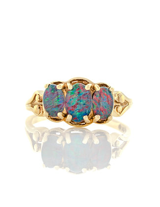 10k Yellow Gold Black Doublet Opal Ring