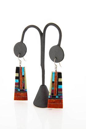 Sterling Silver Spiney Oyster & Enamel Inlay 2 inch Drop Earrings