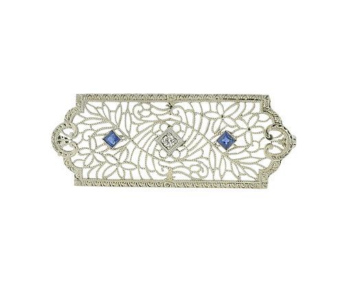 Sapphire & Diamond Pin in 14k White Gold