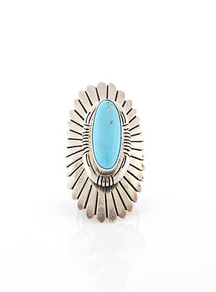 Sterling Silver Turquoise Starburst Ring, Ring Size 6
