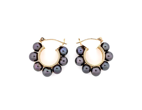 14k Yellow Gold Black Freshwater Pearl Hoops