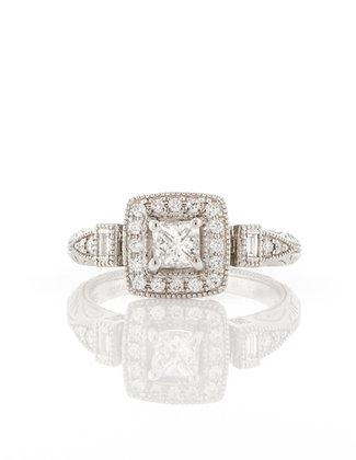 14K White Gold Vintage Style Diamond Halo Ring