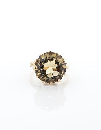 14k Yellow Gold 7.5 Carat Smoky Quartz Ring, Size 7
