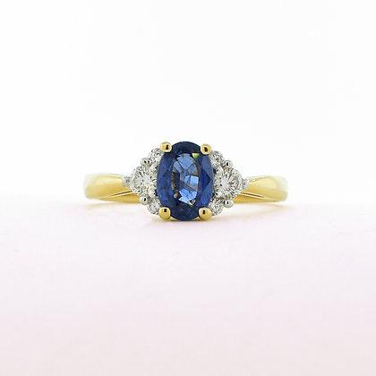 14K Yellow Gold Sapphire Diamond Ring