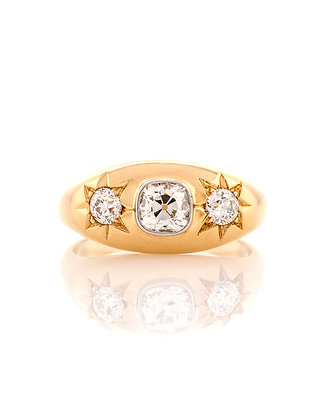 18K Two-Tone Ring with Diamonds