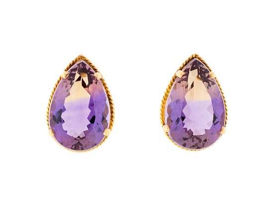 18K Yellow Gold Ametrine Earrings