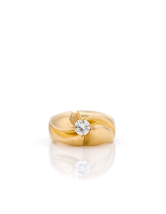 14k Yellow Gold Diamond Belcher Ring