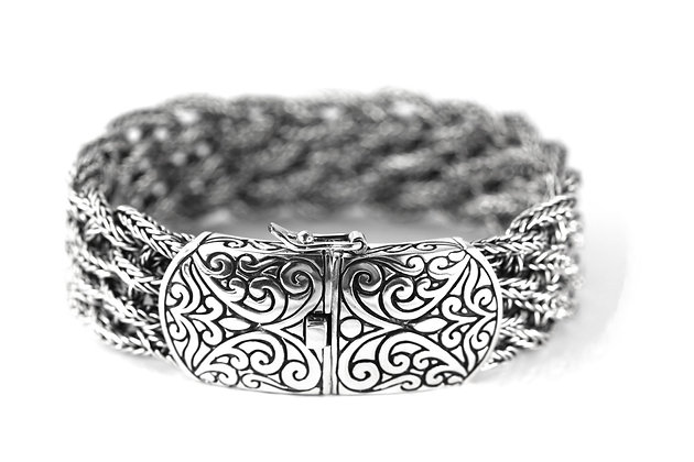 Indiri Sterling Silver Bali Wide Woven Bracelet with Filigree Clasp