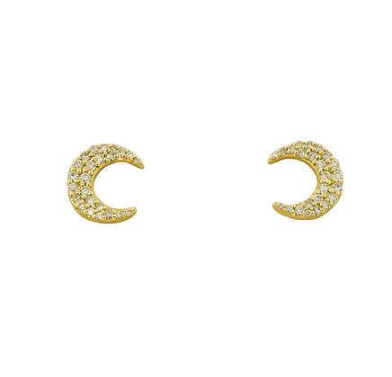 10k Yellow Gold Crescent Moon Stud Earrings