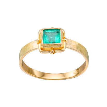 18k Yellow Gold Emerald Ring from Steven Battelle