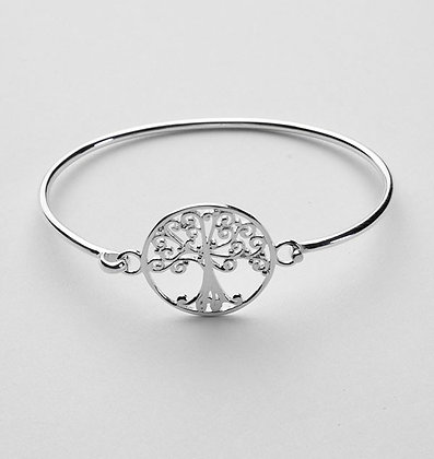 Southern Gates Sterling Silver Oak Tree Bangle Bracelet