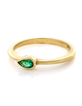 14K Yellow Gold Pear Shape Emerald Ring