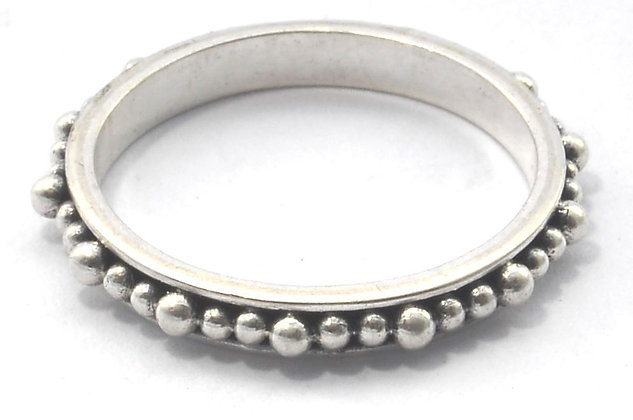 Indiri Sterling Silver Bali Thin Beaded Ring