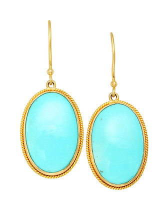 18k Yellow Gold Turquoise Earrings by Steven Battelle