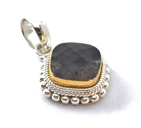 Indiri Sterling Silver & 18K Yellow Gold Pendant with Smoky Quartz