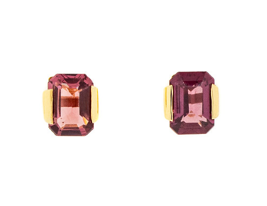18K Yellow Gold Pink Tourmaline Earrings