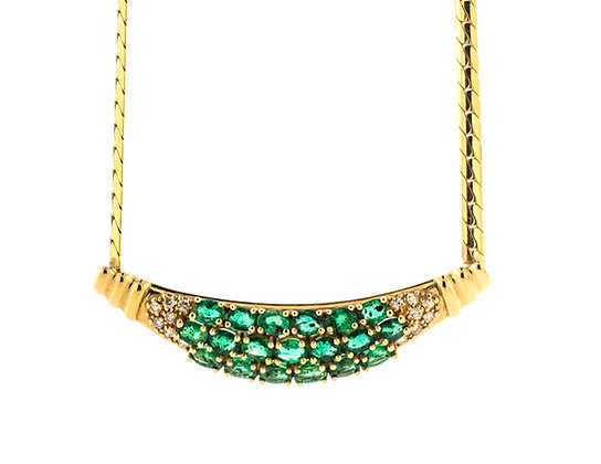 14k Yellow Gold Emerald Neckless
