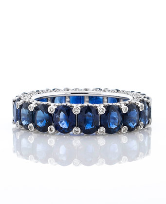 14k White Gold Sapphire and Diamond Eternity Band, Size 7