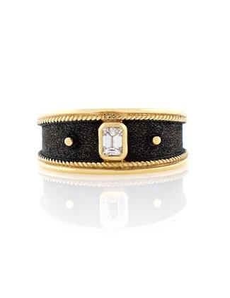 18k Yellow Gold with Black Rhodium Diamond Byzantine Ring