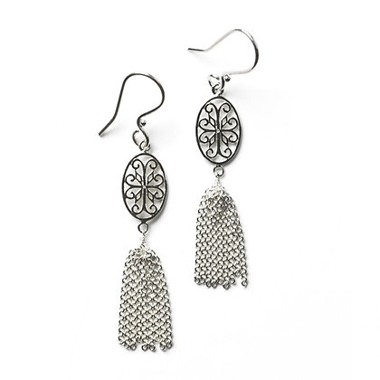 Southern Gates Sterling Silver Courtyard Oval Scroll Tassel Earrings